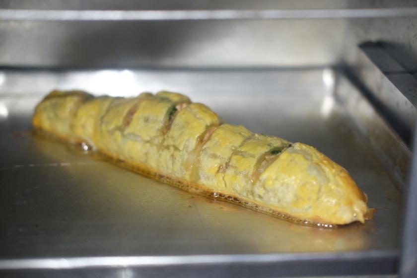 salmon en croute in the making